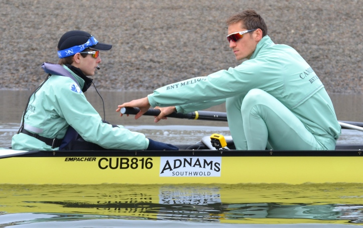 Pic 4. Cox Ian Middleton, in his third Boat Race, and stroke man, Lance Tredell, in his first.