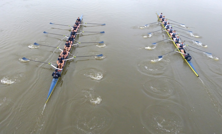 Pic 6. The Oxford trial boats shoot Hammersmith Bridge.