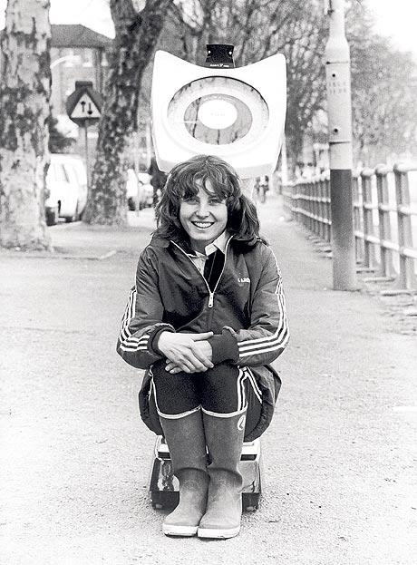 Pic 7. The first woman to take part in the Oxford-Cambridge Boat Race, Sue Brown, allegedly weighing-in at Putney in 1981. She coxed Oxford to victory in 1981 and 1982 despite the press seemingly vying with one another to see who could patronise her the most – as in this report in the Glasgow Herald of 18 February 1981.