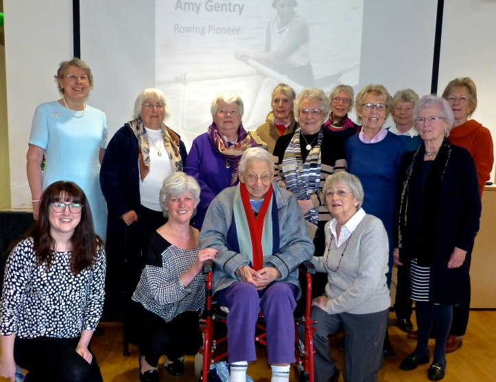 Pic 7. Eloise Chapman (bottom left) and the members of Weybridge Ladies Amateur Rowing Club who attended her talk on their founder, Amy Gentry.