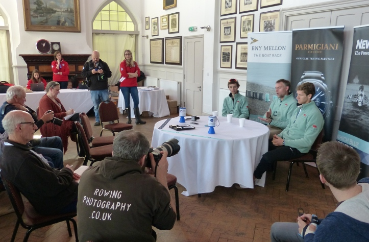 Pic 9. The CUBC Press Conference. From left to right, Ian Middleton, Steve Trapmore, Henry Hoffstot.