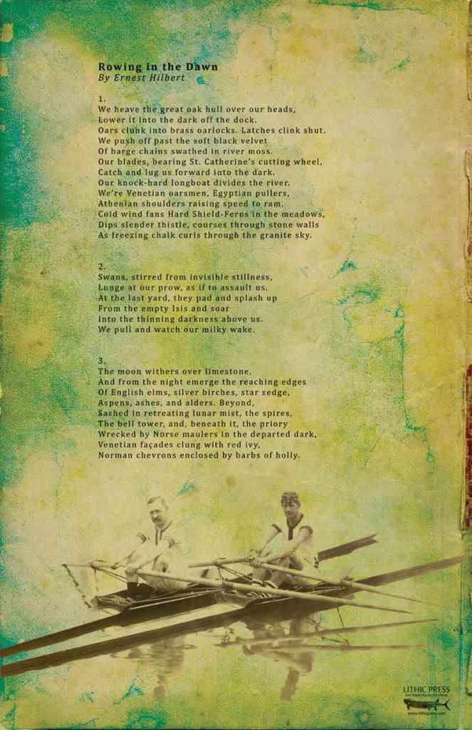 """Rowing in the Dawn"" by Ernest Hilbert and Kyle Harvey – Lithic Press, 2014. Broadside. Measures 11 by 17 inches. Photo: Photo E-Verse Radio."
