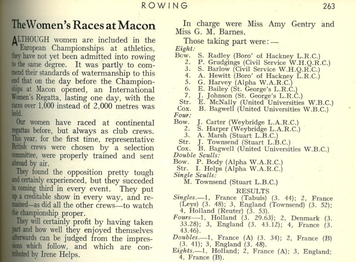 Rowing Magazine 1951 report on Macon Regatta.