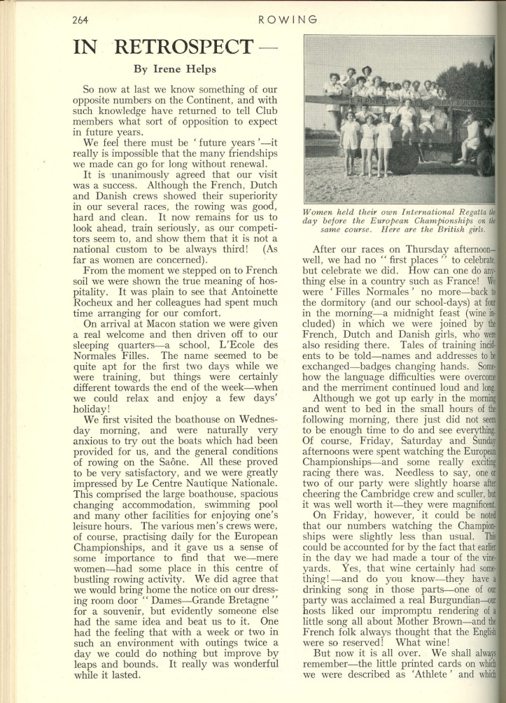Rowing magazine 1951 report on Serpentine Regatta Women's races.