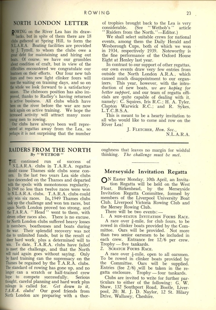 Article from the Rowing magazine, 1950.