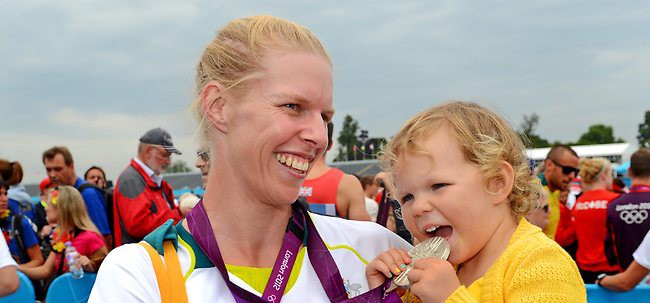 Sarah Tait and her daughter Leila at the London 2012 Olympic Games. Photo: Rowing Australia website.