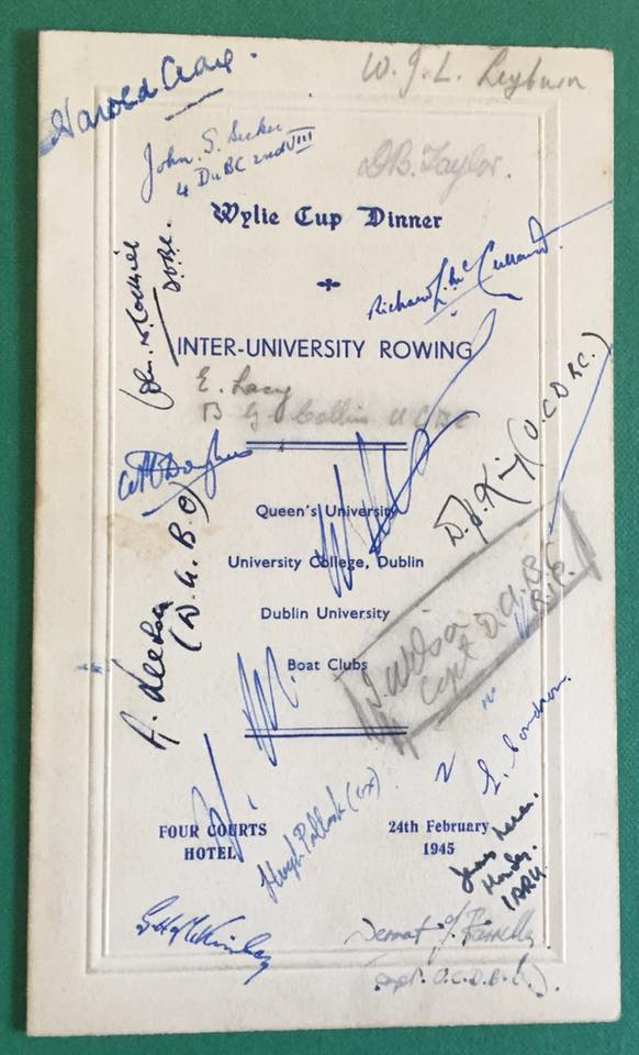 Wylie Cup Dinner Menus for 1945 (Authors collection).