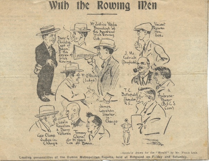 Illustration of Wylie and other leading rowing men in attendance at the 1923 Dublin Metropolitan Regatta. Photo: The Evening Herald.
