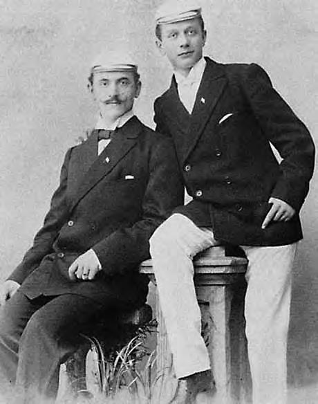 Olympic Champions 1896? Berthold Küttner (left), born in Stettin and who later worked as engineer in Berlin, with his double sculls partner Adolf Jäger. Photo: Journal of Olympic History.