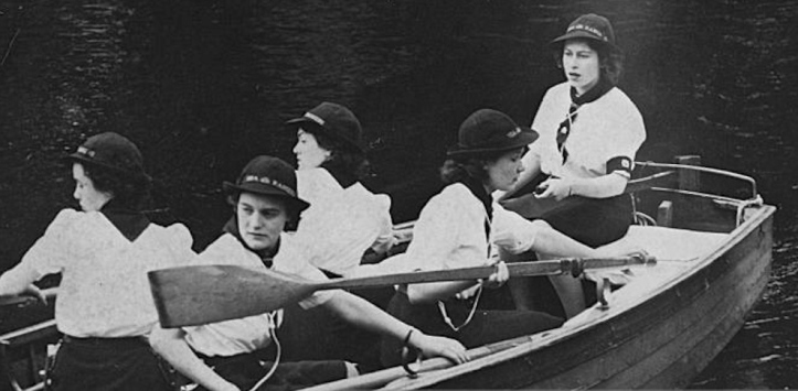 Pic 1. At the helm for sixty-four years. The then Princess Elizabeth steers a rowing boat as a member of the Sea Rangers in 1944.