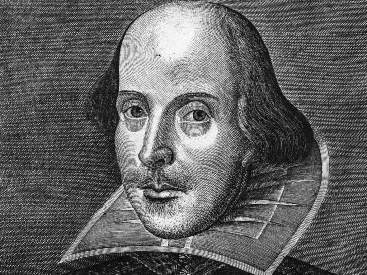 Pic 1. The famous engraving of Shakespeare by Martin Droeshout, done for the First Folio seven years after the playwright's death but probably from a now lost authentic portrait.