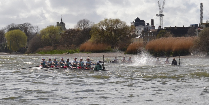 Pic 10. + 10 min 45 sec: Alongside the Eyot, Baynham-Williams found that her bold move did not give her the advantage that she had hoped for and Cambridge, in the faster water, closed the gap. However, in the prevailing conditions, it was not possible for them to capitalise on Oxford's mistake and make a 'big move'. Isaiah 54:11. O afflicted one, storm-tossed, and not comforted…..