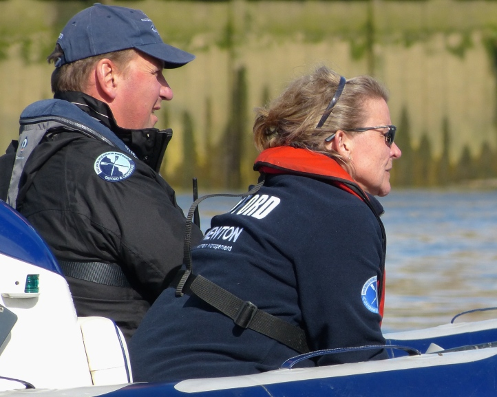 Pic 11. Sir Matthew Pinsent, Women's Boat Race Assistant Umpire, and Christine Wilson, Oxford University Women's Boat Club Coach.