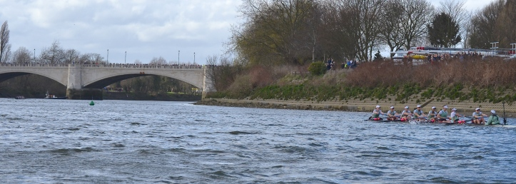 Pic 19. + 21 min 30 sec: With Oxford (in the distance, on the far left of the picture) just about to cross the winning line, Cambridge struggled on to finish over a minute later. The finish times were Oxford 21 min 49 sec and Cambridge 23 min 00 sec, but this result should not cause us to forget what a good and close race it was before the conditions got 'insane' and Cambridge came off worst. Timothy 4:7. I have fought the good fight, I have finished the course, I have kept the faith….