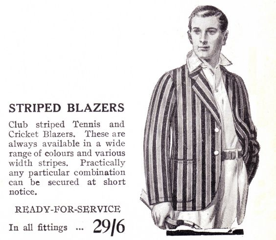 Pic 2. An advertisement for sports club blazers from the 1930s. The cost, twenty-nine shillings and sixpence, was less than £1.50.