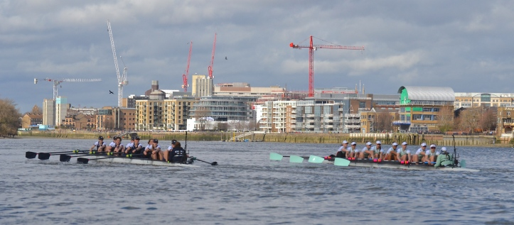 Pic 3. + 3 min 08 sec: Both coxes steered well, the parallax error inherent in photographing from behind and to the side here making Oxford look further ahead than they were. The Dark Blues were four seats up at the Mile Post but both crews were given a time of 4 min 13 sec.