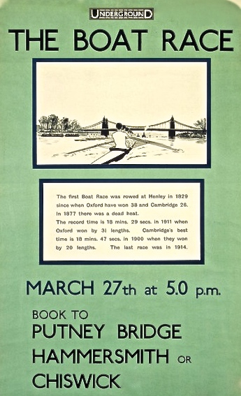 Pic 3. The date is correct for Boat Race Day 2016, but this London Underground poster was for the race of 1920.