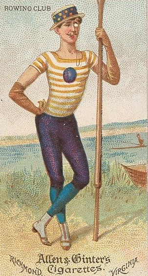 Pic 3. A card given away in cigarette packets in the United States in 1888, part of a series called 'Dudes of the World' and an early, pre-lycra example of inadvisable rowing kit.