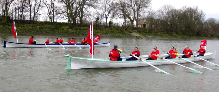 Pic 3. The 'Oxbridge Giggs' or '1829 Cutters' in 2013. Although they are in action on behalf of London Youth Rowing, the crews are mostly veterans ('masters') with a rowing or skiffing background.