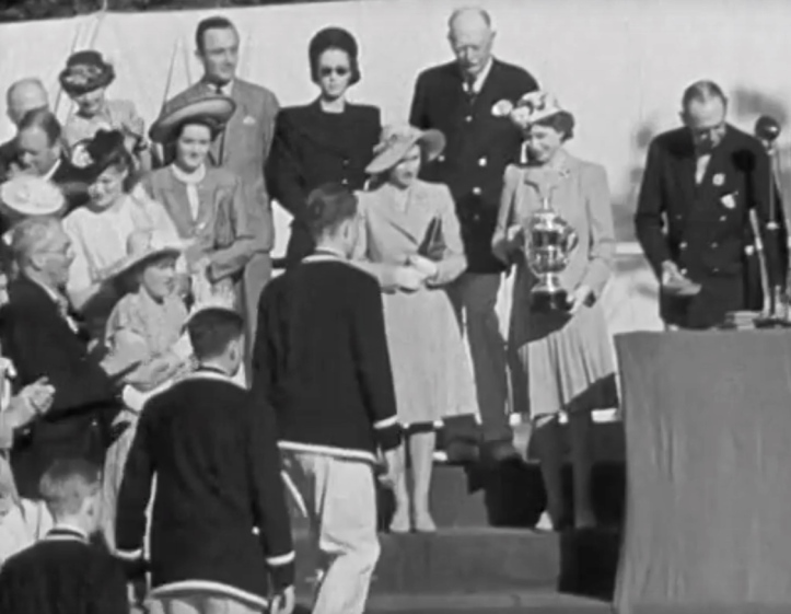 Pic 4. Princess Elizabeth presents the Princess Elizabeth Challenge Cup to the Bedford School First VIII.
