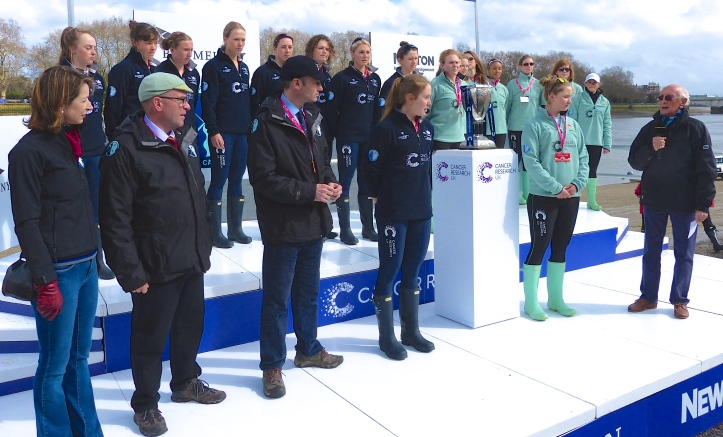 Pic 4. The coin toss for stations. On the far left is Helena Morrissey, CEO of Newton Investment Management and one of the prime movers towards parity between the men's and women's races. On her left is David Searle, one of the Executive Directors of the Boat Race Company Ltd (and a Cambridge Blue). On David's left is the Women's Race Umpire, Rob Clegg. On the right, with the microphone, is Barry Davies, veteran sports commentator and 'Voice of the Boat Race' between 1993 and 2004. Oxford won the toss and chose Surrey.