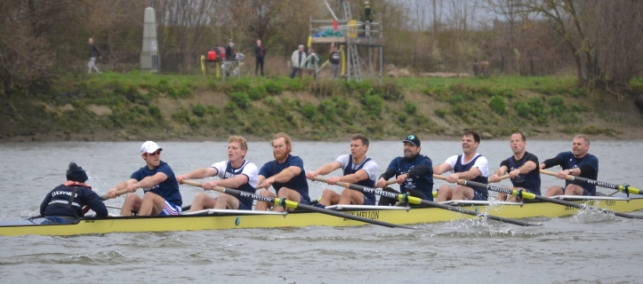 Pic 4. Oxford at the Mile Post. From the cox: de Toledo, Williams, Eggenkamp, Ayer, Manners, Blanda, Berger, Anderson and Pelham.