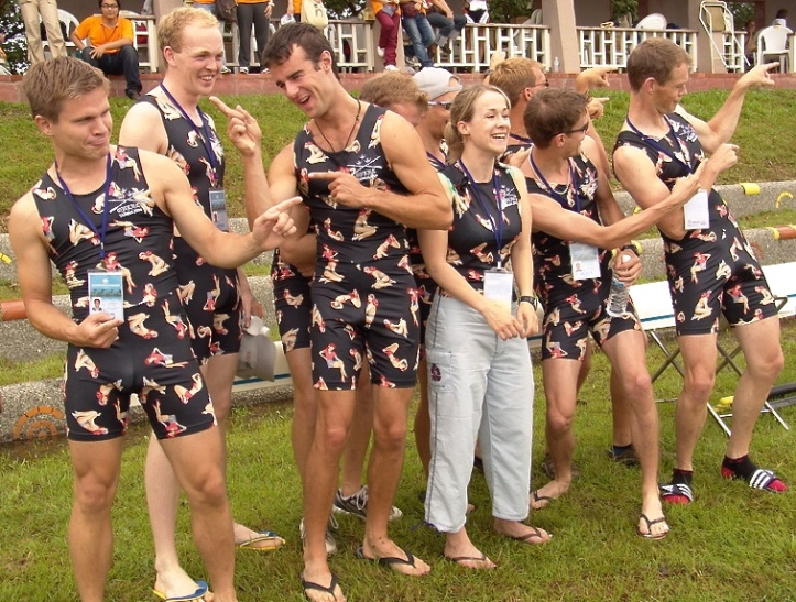 Pic 4. A gentle start to our parade of tastelessness; this design is modelled by Oxford University Lightweights and based on something that their grandmothers would have worn to the beach in the 1950s.