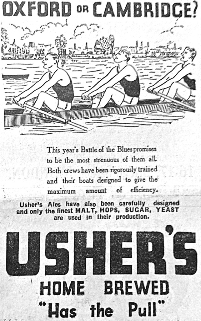 Pic 6. No doubt, Adnams paid generously for their association with The Boat Races but it is unlikely that Usher's Brewery paid anything when they produced this advertisement in the 1960s.