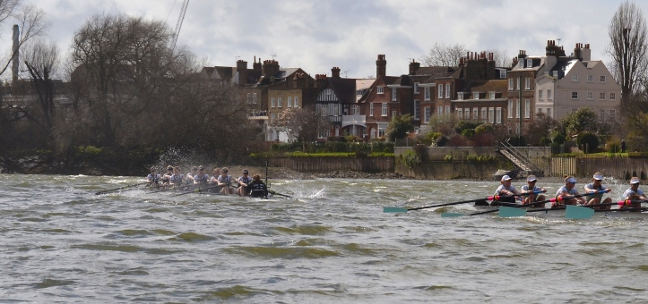 Pic 9. + 10 min 13 sec: Below Chiswick Eyot, Oxford cox Morgan Baynham-Williams decided to steer for calmer water beside the little island and switched stations to Middlesex.