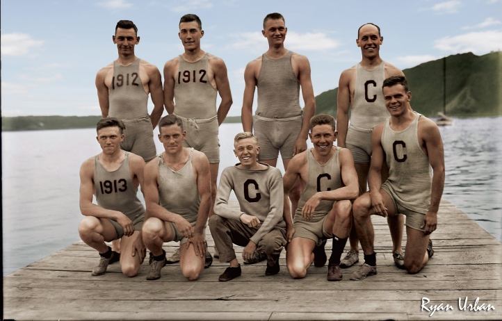 Pic 9. A famous black and white picture of a Cornell crew from 1911 that has been cleverly 'colourised'. Picture: reddit.com