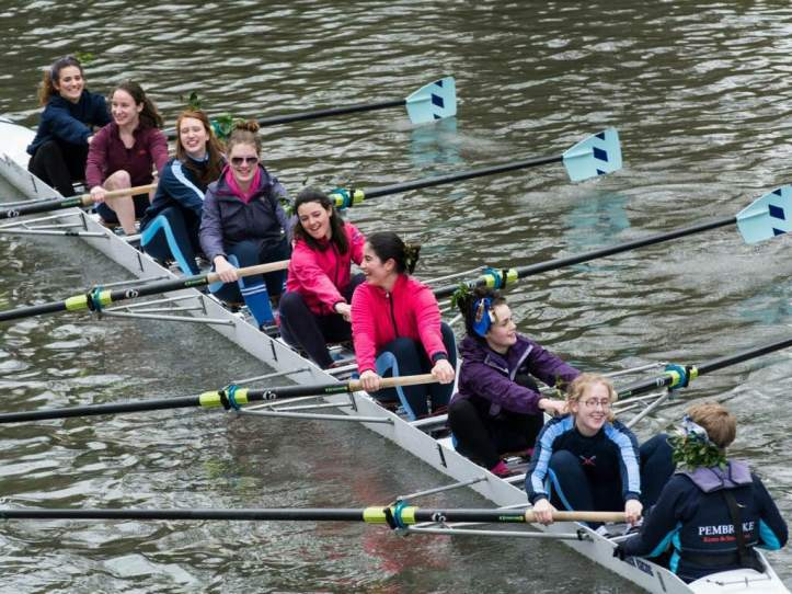 Picture 3 - Audrey rowed in six-seat for W2 in Lents last year. This picture was taken on the row home from our first ever bump, which is why we're all grinning like idiots. Photo: Giorgio Divitini, a regular photographer of Bumps and other races on the Cam.