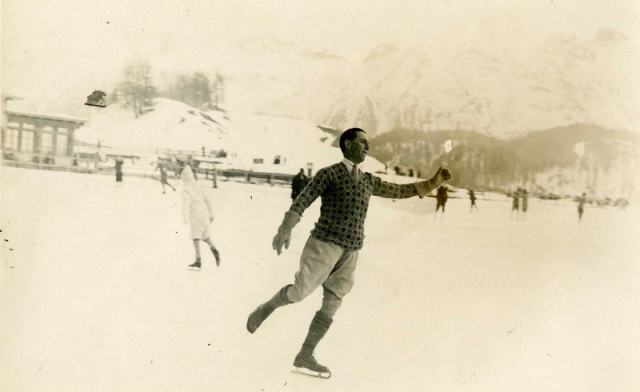 William Evelyn Wylie (Irish High Court Judge) skating in Switzerland. 1930. Picture: National Archives.