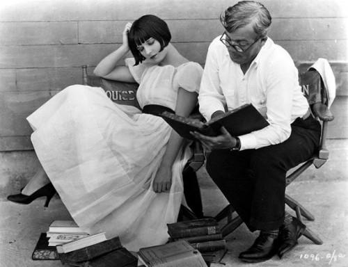 Caption: Louise Brooks with German producer Georg Wilhelm Pabst.