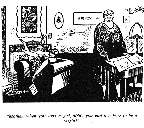 Caption: A cartoon showing the problematic generation gap between a 'flapper' and her mother.