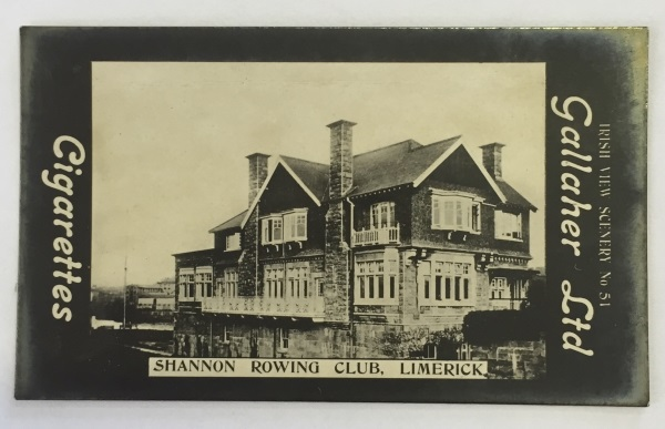 No. 51 of a series of 600 cards called 'Irish View Scenery' featuring a real photograph of Shannon Rowing Club, Limerick, issued by Gallagher Ltd, Belfast, between 1908 and 1910.