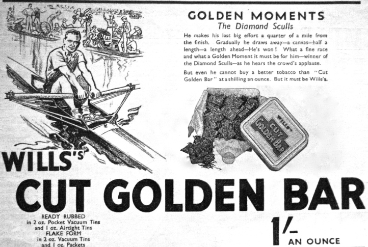 Pic 1. An advertisement from 1937, a time when many people smoked – and knew what the Diamond Sculls were.