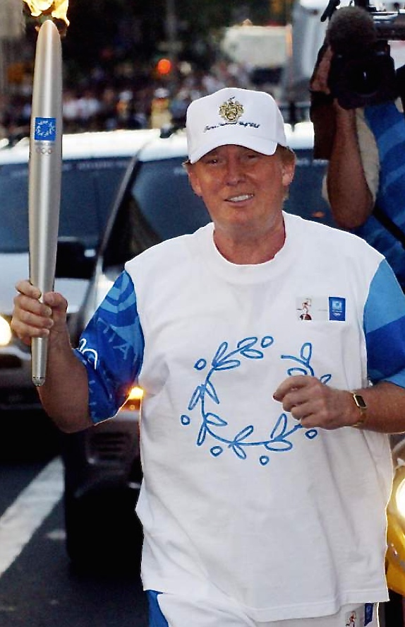 Pic 11. When the 2004 Relay reached New York, Donald Trump was one of those who carried the Olympic Flame, the symbol of an event which celebrates internationalism and multiculturalism. Perhaps Trump was actually thinking of the 1904 St. Louis Olympics when 523 of the 630 competitors were American?