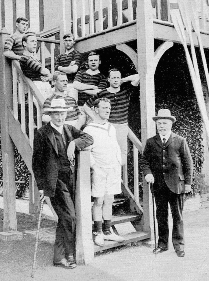 Pic 18. Some Stratford BC worthies including, on the far left, the President, Rev Francis Hodgson, and, standing on the bottom step, AB Smith, the Captain who appealed to ladies and old rowing men to help rescue provincial rowing.