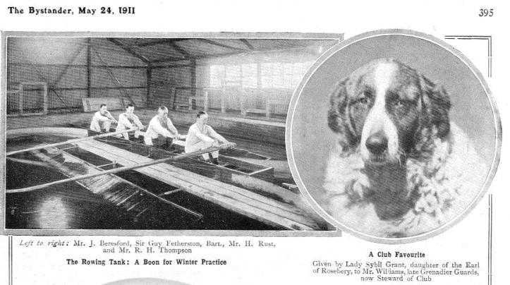 Pic 3. Bystander's pictures of the Thames rowing tank, which was built in 1903, and also of the club steward's dog, 'a club favourite'.