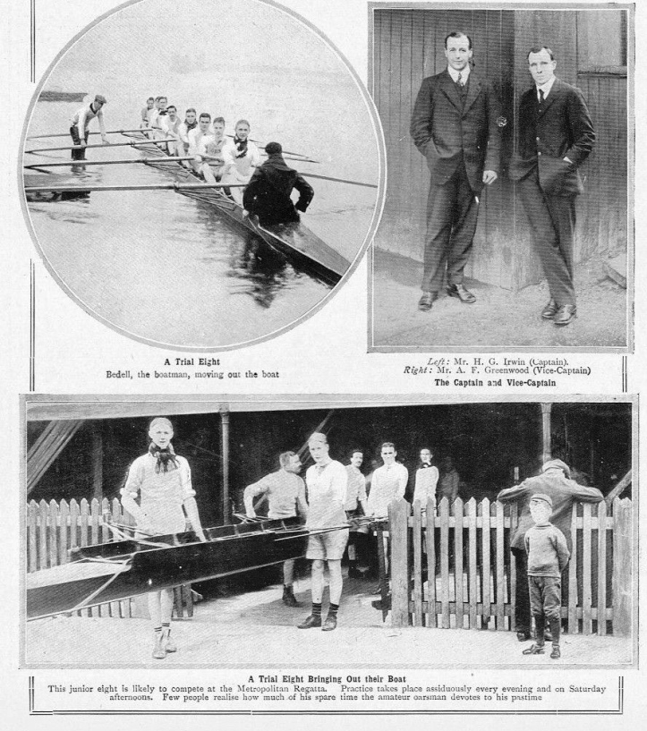 Pic 4. The 1911 Thames Junior Eight is captured coming out of the boathouse and then again when going afloat, pushed out by 'Bedell', the boatman. Also pictured are the TRC Captain, HG Irwin, and the Vice-Captain, AF Greenwood.