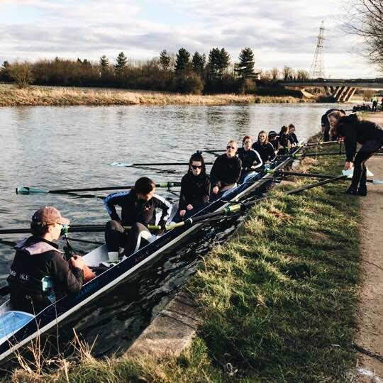 Picture 3: W1 marshalling during Lent Bumps this year. The expressions of doom on our faces say it all. Photo: Sue Aylward.