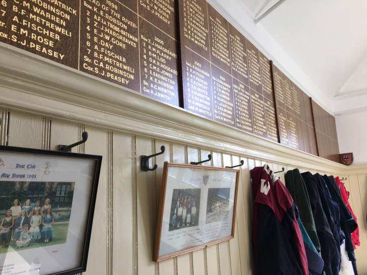 Picture 4: The south wall of the women's room, which features the names of all previous first boat crews for May Bumps. Photo: CL, with an iPhone 6 and VSCO.