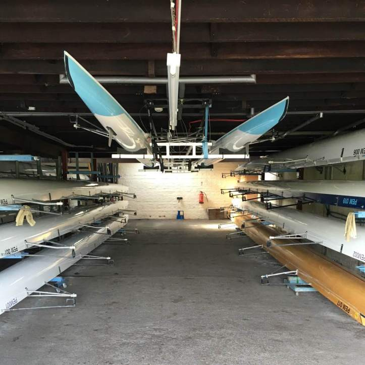 Picture 8: Our larger boat bay. In general women's boats are stored on the right and men's boats on the left, but this arrangement tends to shuffle around depending on the height of crews, what boats need repairing and who's on the water at the same time. Photo: CL, with an iPhone 6 and VSCO.