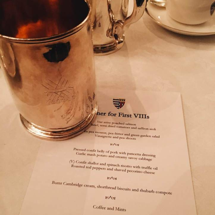 Picture 5: The menu for our black tie dinner with Master of Pembroke, Lord Chris Smith, and the tankard I was allowed to drink from. Photo: CL, with an iPhone 6 and VSCO.