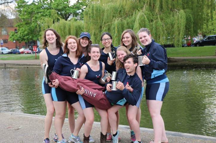 Picture 4: PCBC W1 incredibly excited after winning the Novice Wo. 8+ division of Bedford Regatta. Photo: Callum Mantell.