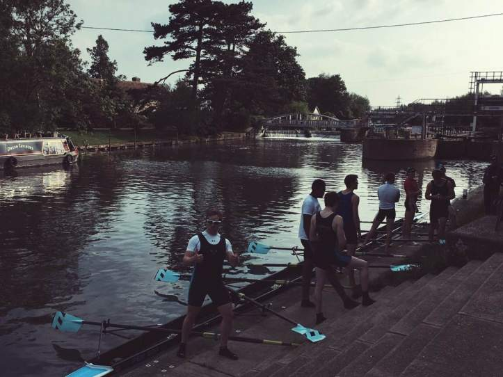 Picture Nine: Cycling home after taking photos of Swanald, I chanced upon Pembroke's first men's boat having just come over the lock. The lad giving me the thumbs up is bow-seat Gregory Drott, last year's overall PCBC Captain and a fellow Ph.D. student. Photo: CL.