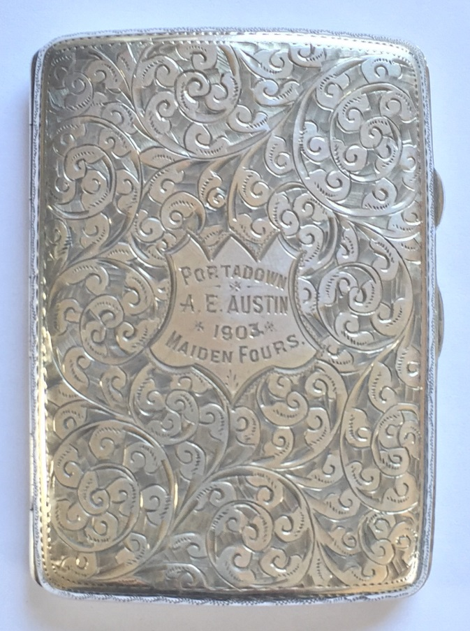 Silver cigarette case presented to A. E. Austin, winner of the Maiden Fours at Portadown Regatta in 1903. 8cm x 5cm – hallmarked Chester1902.