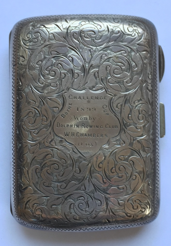 Silver cigarette case presented to the winners of The Boyne Challenge Cup (Junior Fours at Boyne Regatta, Drogheda) in 1899. 8cm x 5cm – hallmarked Birmingham 1898.