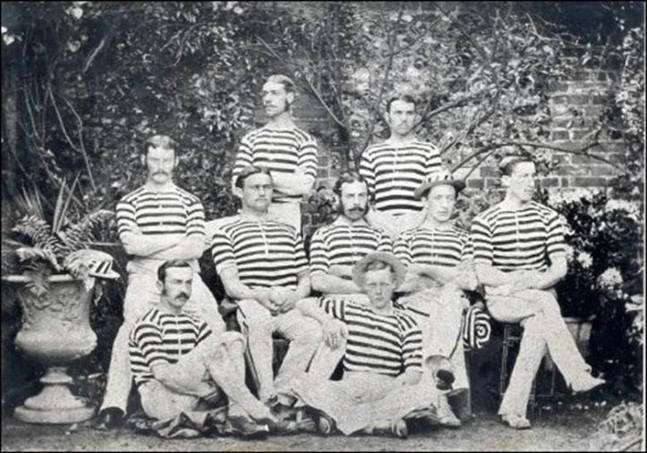 The winning Ladies' Plate crew of 1875, which read from the bow: R. W. Jameson, W. J. Battersby, J. Myles, W. G. Towers, R. Gage, A. A. Pentland, C. Ambrose, E. J. Cowen and W. G. King (cox). I believe Jameson is on the left of the middle row (arms folded).