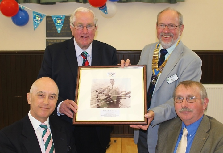The Auriol Kensington Rowing Club presented a picture of Wally Kinnear to be hung in the Dickson Hall. Left to right, back row: Jim Brown and Allan Smith. Front row: Tim Koch and Peter Myles.